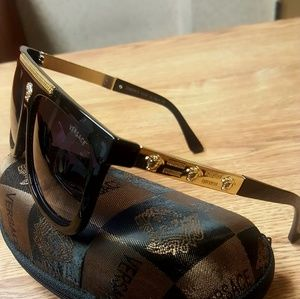 Authentic Versace GoldMedusa Frame Dark Sunglasses